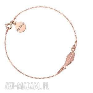 sotho bransoletka z różowego złota z liściem - złote