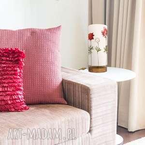 lampa stołowa drewniana nastrojowa, vintage, drewno, bawełna, design, styl