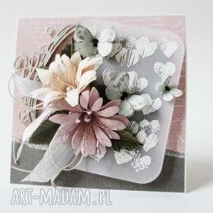 ręcznie wykonane scrapbooking kartki z kwiatami - w pudełku