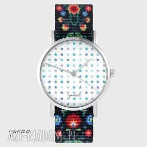 handmade zegarki zegarek - blue stars folk czarny, nato