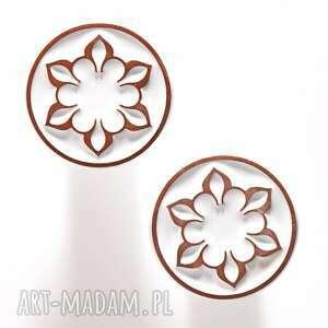 ceramika gałki do mebli białe z brązowym ornamentem wz ii