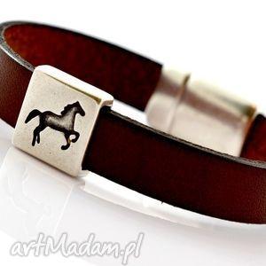 hand-made męska bransoletka skórzana magnetoos horse in bronze