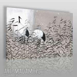 Obraz na płótnie - DOSTOJNE ŻURAWIE 120x80 cm (56201), żurawie, ptaki, tatarak