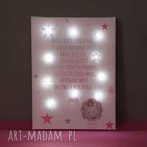 dla dziecka pamiątka chrztu świecący obraz led modlitwa zdjęcie lampka gwiazdki