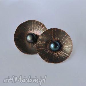 promieniste - kolczyki, sztyfty, srebro, miedź, perły, koła