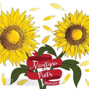 kreatywne wesele plakat ślubny - słoneczniki, słonecznik, drzewo wpisów