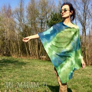 Prezent Zielono niebieskie lniane ponczo, narzutka, sweter, dzianina