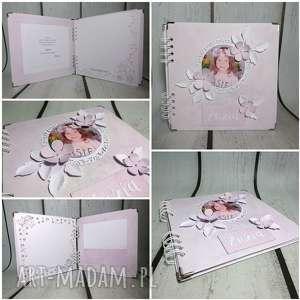 Album ze zdjęciem, zdjęcie, kwiaty, urodziny, narodziny, chrzest, komunia