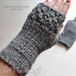 rękawiczki mitenki - rękawiczki, mitenki, szare, wełniane