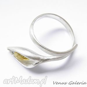pierścionek - satynowa lilia, biżuteria, srebro, pierścionki