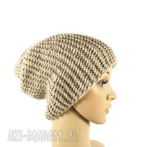 czapka beżowa krasnal unisex robiona na drutach, czapka, krasnal, unisex, przędza