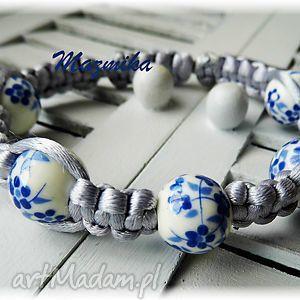 ręcznie zrobione bransoletki porcelanka kwiatowa- bransoletka makramowa