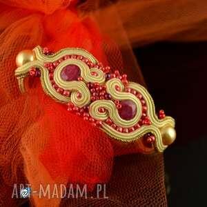 Delikatna sutaszowa bransoletka ślubna - ,wesele,ślub,sutasz,soutache,korund,
