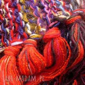 kolorowy szal boho 36, kolorowy, łączonewłóczki, wełnianyszal, koloroweresztki