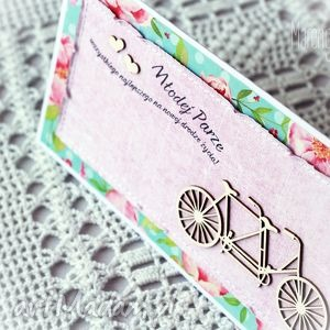 tandem - kolorowa kartka ślubna - tandem, gratulacje, młodej, parze, ślubne