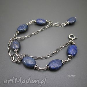 bransoletka z owali lapis lazuli, srebro, lapis, biżuteria