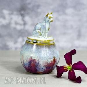 ceramika urokliwa cukiernica z kotem - różowy 250 ml -na prezent dla kociary