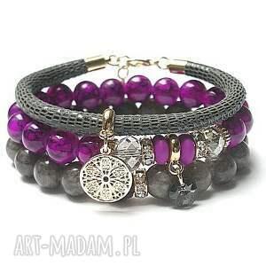 bransoletki violet and grey vol 2 21 02 17 set, marmur, szkło, skóra, rzemień