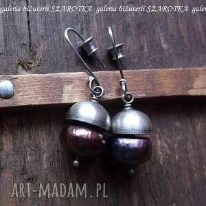 Pół na kolczyki z naturalnych pereł i srebra szarotka perła