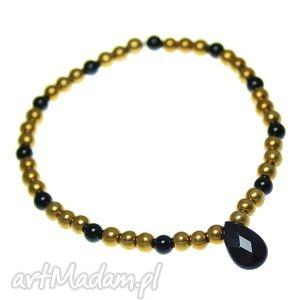 bransoletka poplavsky black & gold, bransoletka, onyks, hematyt