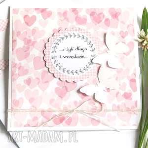 ręcznie wykonane kartki kartka ślubna :: handmade :: pink hearts