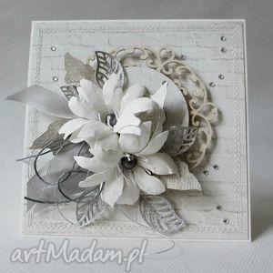 Z odrobiną srebra scrapbooking kartki marbella życzenia, kwiaty