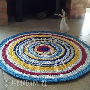 dywan eco-etno zero waste, 80 cm, szydełkowy, z bawełny