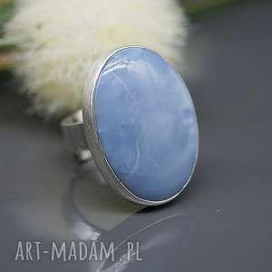 Opal niebieski - pierścionek Sahara , srebny, srebro, regulowany,