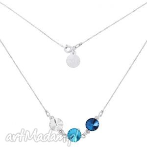 srebrny naszyjnik z trzema kryształami swarovski crystal, kryształ, srebro