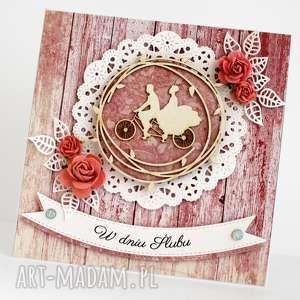 Kartka Ślubna - Na rowerze, kartka, ślubna, pamiątka, ślub, deski
