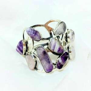 nowoczesna bransoleta srebrna z ametystem i kwarcem różowym, bransoletka