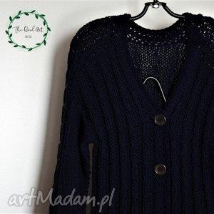 granatowy kardigan - zamówienie, sweter, kardigan, wełna, ubrania