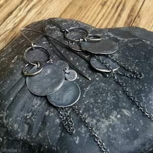 unikalny, kolczyki srebrne, ze srebra, oksydowane