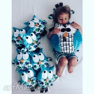 sowa poduszka, wzór city, sowa, sowy, sówki, domki, minky zabawki dla