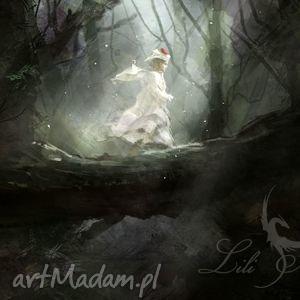 obrazy obraz - magiczny las płótno, obraz, magiczny, las, dziewczynka, anioł