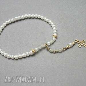 cross /perle/ - bransoletka, krzyż, perły, srebro, swarovski, pozłacane