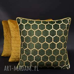 komplet 3 poduszek welur plastry miodu i zieleń 45x45cm