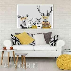 nowoczesny obraz drukowany na płótnie - 120x80cm rodzina jeleni wysyłka w 24h