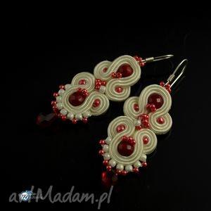 Kremowo-wiśniowe kolczyki ślubne - haft soutache