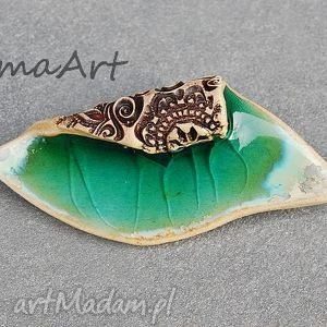 Zielona Spękana., ceramiczna, broszka, biżuteria