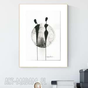 grafika a4 malowana ręcznie, minimalizm, abstrakcja czarno-biała - obraz