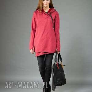 bluza basanti asymetryczna, na zamek, z kapturem, długa