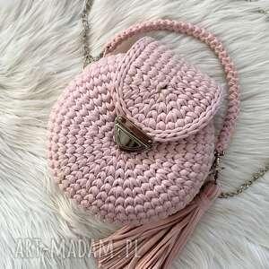 handmade na ramię szydełkowa okrągła torebka z klapką