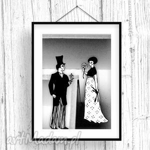 parallel world pan i pani art print, plakat, ilustracja, ślub, para, fotografia