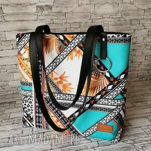 torebka - mozaika z turkusem, damska handmade, shopper kolory kolorowa