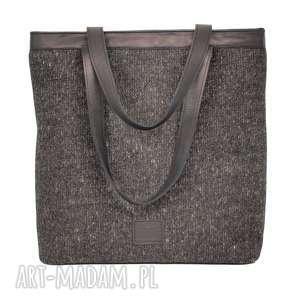 Prezent duża czarna torba z grubej grafitowej tkaniny, torba, torebka