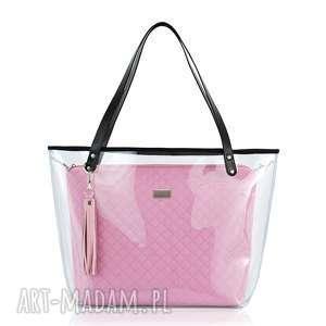 torebki torebka delise 2w1 1079 pudrowy róż, pikowana, różowa, foliowa