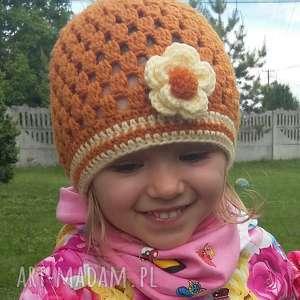 dziewczęca czapka na wiosnę lato jesień z włóczki, czapka, dziewczęca