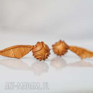 złoty znicz golden snitch - kolczyki, snitch, znicz, harry