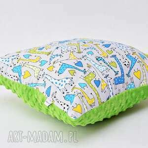 poduszka w żyrafy, żyrafia poduszka, z żyrafami zielona